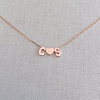 Tiny Personalized Uppercase Block Initials with Block Heart Charm in Rose Gold