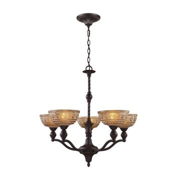 Norwich 5-Light Chandelier in Oiled Bronze with Amber Glass
