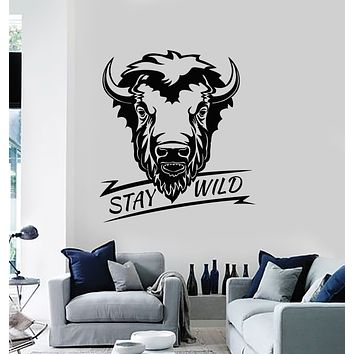 Vinyl Wall Decal Bull Head Animal Phrase Stay Wild Stickers Mural (g3066)