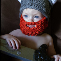 Childrens Viking Beard Hat Barbarian Knit Cap Mustache