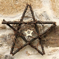 Yule Tree topper, yule door hanging, christmas tree star, Yule decor, pagan home decor, wooden pentagram, hanging pentagram, altar decor