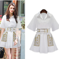 White Boho Floral handmade Embroidered Casual Shirt Dress with Free Belt