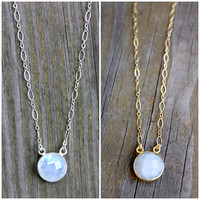 Moonstone Pendant Necklace on 14k Gold Fill or Sterling Silver Chain Layering Necklace with Genuine Moonstone Opal Silver Charm