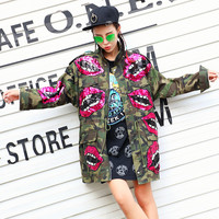 Sequin Red lip Outwear 2017 women spring cool punk long coat vintage army camouflage trench unique mouth windbreaker LT394S15