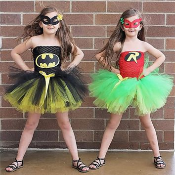 Batman Dark Knight gift Christmas Batman Girl Dress carnival costume Baby Girl Clothes Superhero Princess Costume Batman Toddler Girl Dress Halloween Party Dress AT_71_6