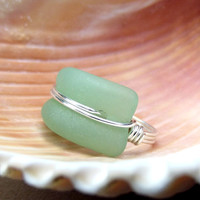 Seafoam Seaglass Ring:  Silver Wire Wrapped Green Beach Jewelry, Size 7 Curved Statement Ring