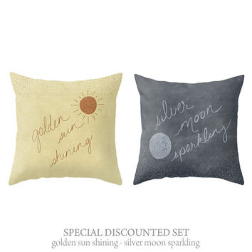 Discounted Set Sun & Moon Home Decor Throw Pillow Covers Illustrated and HandLettered Decorative Home Decor Set of 2 Pillow Covers