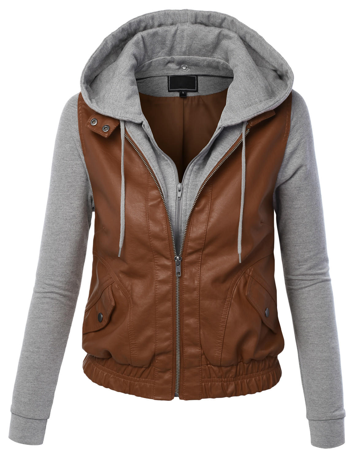 Image of LE3NO Womens Faux Leather Zip Up Moto Biker Jacket With Hoodie