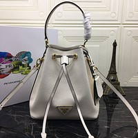 PRADA WOMEN'S LEATHER 1BZ032 BUCKET HANDBAG INCLINED SHOULDER BAG