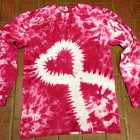 Pink Breast Cancer Awareness Tie-dye T-shirt Long Sleeve, sizes 2X-3X