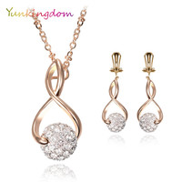 New Ball Style Jewelry Sets Hollow out Necklace Austrian crystals Earrings For Women Gold Plated Accessories Star fashion show