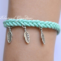 bracelet,mint bracelet,feather bracelet,teal bracelet,braid bracelet,bridesmaid bracelet,friendship bracelet,blessedgarden