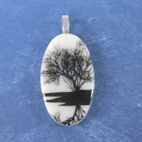 Tree Necklace, French Vanilla Pendant, Necklace Pendant, Botanical Jewelry - Lakeside - 4551 -1