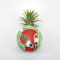 Fox Magnetic Wall Bud Vase   holds water flower air plant pencil pen holder   red white green wall planter pocket   in stock