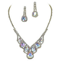 Iridescent AB Elegant Droplets Rhinestone Prom Bridesmaid Evening Necklace Set Gold Tone U4