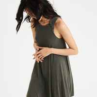 AEO Lace-Up Detail Knit Dress, Olive