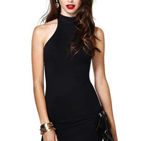 Black Crew Neck Open Back Mini Dress