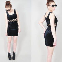 VINTAGE 90s grunge black crushed velvet cage cutout club kid stretch skinny tight bodycon mini dress
