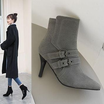 Pointed Toe Buckle Women's High Heeled Ankle Boots