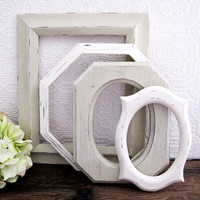 Empty Picture Frame Set Of 4 Antique White Shabby Chic Wall Decor