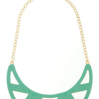Mint Geometric Bib Necklace