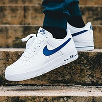 NIKE Air Force 1 Fashion Women Men Casual Sport Shoes Sneakers White(Navy Blue Hook)