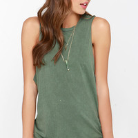 RVCA Boyfriend Washed Olive Green Muscle Tee
