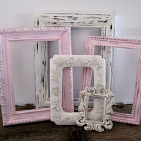 Open Picture Frame Set Of 5 Shabby Chic White And Pink Wall Decor