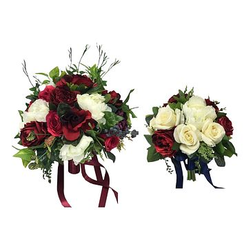 Burgundy and Ivory Silk Flowers with Berry and Greenery - Natural Fall/Winter Set