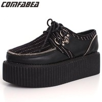 Size 34 Spring Autumn street punk black creepers lace-up zipper creepers platform goth punk shoes women creeper