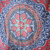 1970s Vintage Mandala Print Bedspread/Wall Hanging; Off-White/Red/Blue Cotton Full-Size Bohemian/Hippie/Mystical Design by Mikel Tex/Egypt