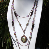 Copper Multi-Strand Necklace with Locket