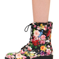 SONYA FLORAL COMBAT BOOTS