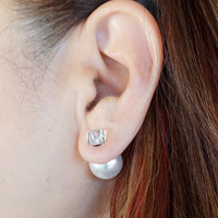 Double Sided Pearl Earrings, Ice Cube Crystal and Pearl Stud Earrings, Stocking Stuffers, Christmas Gift Ideas