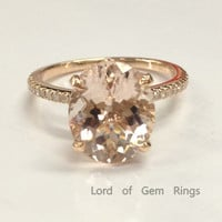 Ready to Ship - Oval Morganite Engagement Ring Pave Diamond Wedding 14K Rose Gold 9x11mm  Prong Set