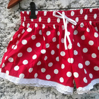 Cute Lace Trimmed Shorts Red Polka dot Art Colorful Print Low Rise For Beach Summer Clothes Clothing Comfy For Girl Women Wear with Tank Top