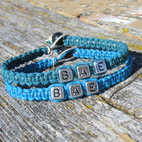 Turquoise and Dark Green Bae Bracelets, Set of Two, Hemp Jewelry for Couples or Best Friends