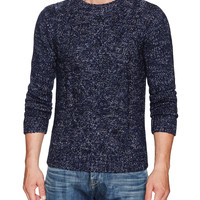 Barque Men's Marbled Cable Sweater - Dark Blue -