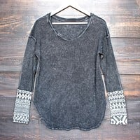 Final Sale - Acid Wash Ski Lodge Cuff Thermal Top in More Colors