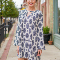 Medallion Swing Dress, Navy