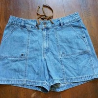 Riders By Lee Womens Size 18 M Denim Jeans Shorts Drawstring Waist FLAP POCKETS