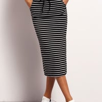 Black White Striped Drawstring Skirt