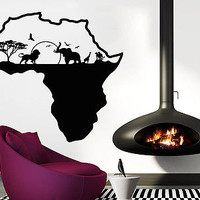 African Safari Wall Decal African Map Vinyl Stickers Animals Housewares C553