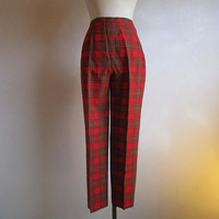 80s Womens Plaid Pants HIghland Queen Tartan Red Green Casual Sport 1980s Trousers 14