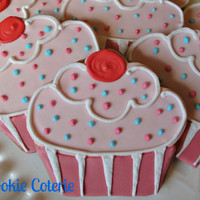 Cupcake Cookies Decorated Cookies Birthday Party Baby Shower Cookie Favors One Dozen