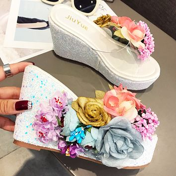 Fashion wedge sandals and slippers new thick bottom sequins transparent handmade high heel women slippers
