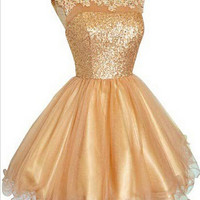 Sequin Gold Short A-line Homecoming Dress