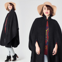 70s Black Wool Cape Coat / Mao Collar Black Cape / Minimalist Boho Dark Gipsy Asian Cape Coat