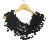 Handmade Crochet Pompom Scarf in Black Colour ,  Mother's day