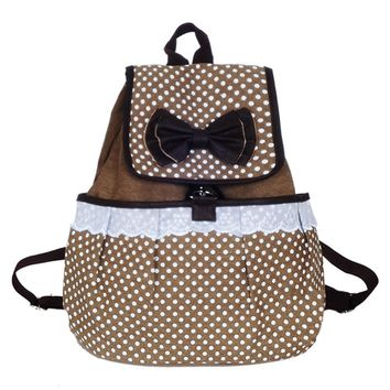 Super Cute Canvas Bowknot School Lace Backpack
